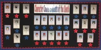 Bulletin board of Students of the Month
